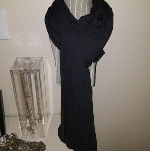Black Jersey Knit Long Black Scarf
